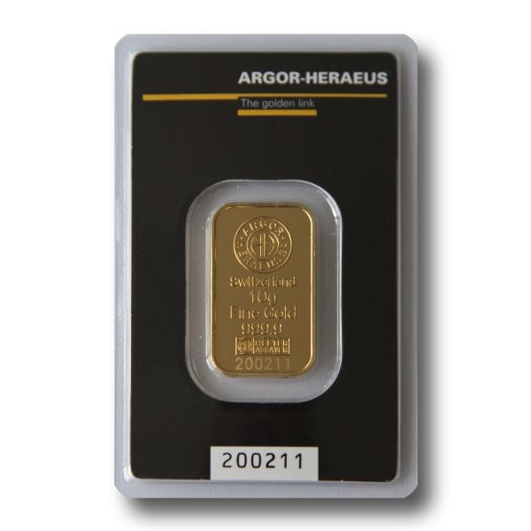 Zlatý slitek Argor Heraeus  10 g