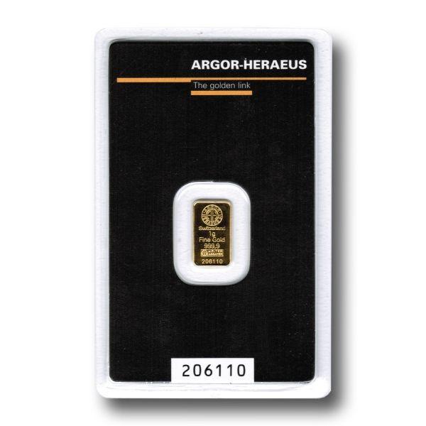 Zlatý slitek Argor Heraeus 1 g