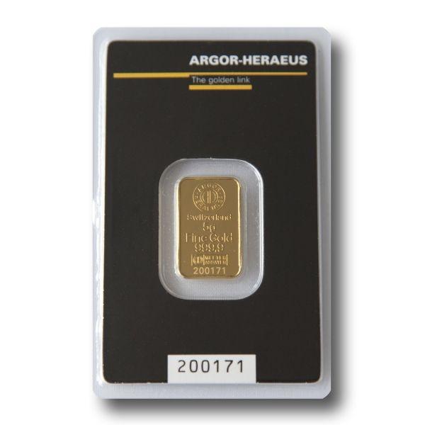 Zlatý slitek Argor Heraeus  5 g